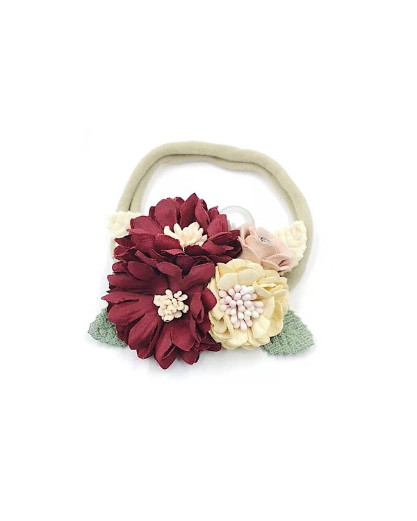 Floral Nylon Headband Wine
