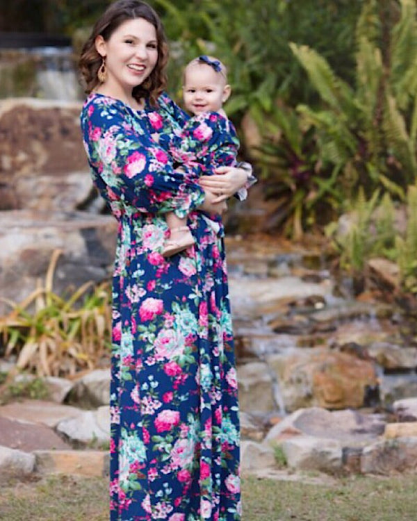 Navy Floral Mommy Dress