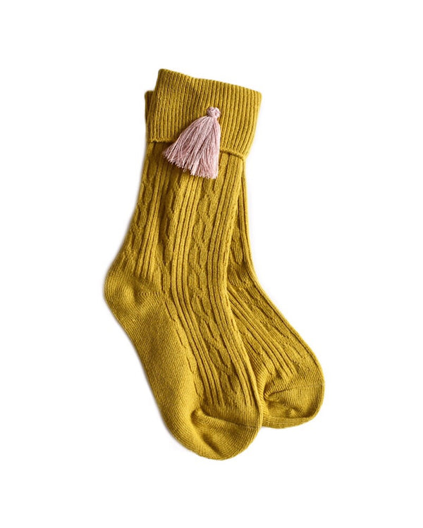 Mustard Tassel Knee High Socks