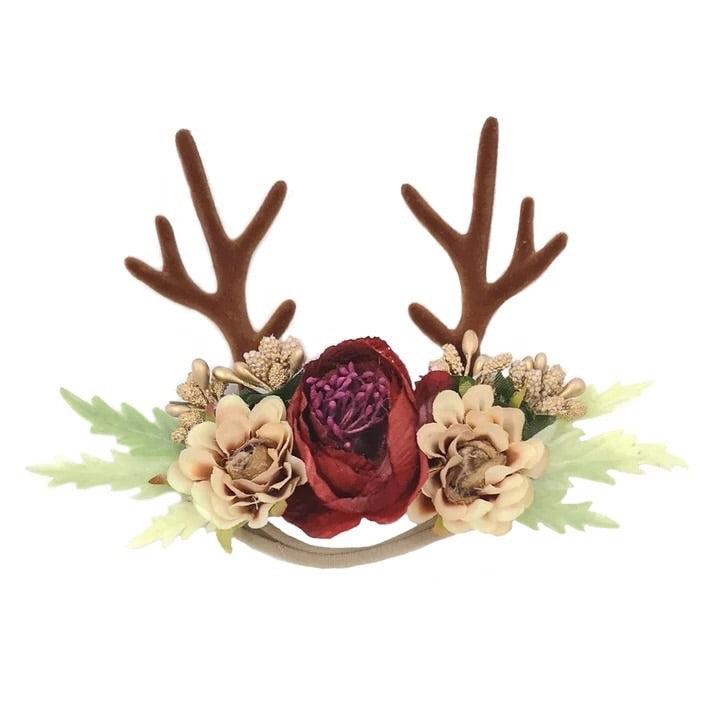Deer Antler Floral Nylon Headband Wine