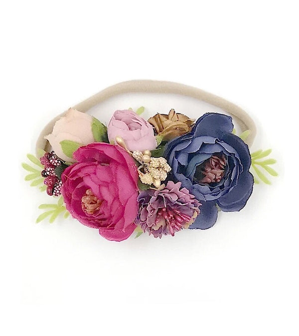 Floral Headband Violet and Navy