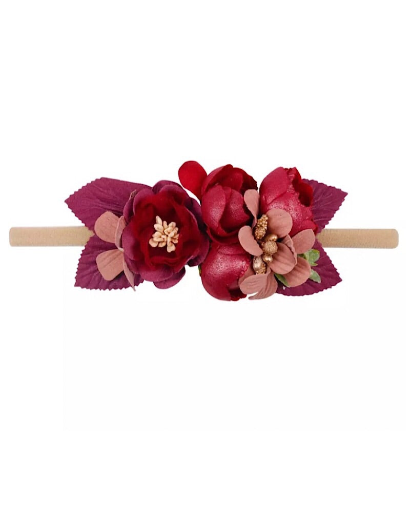 Floral Headband Wine - Castle Rose Boutique
