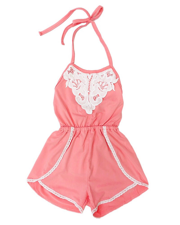 Ava Lace Halter Romper - Castle Rose Boutique