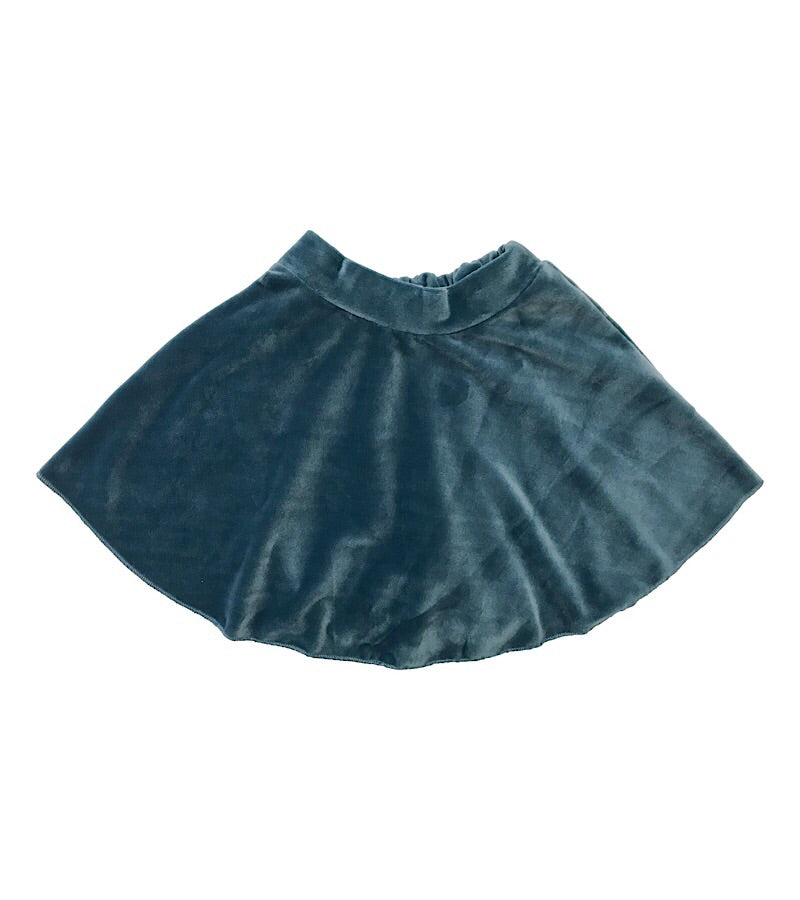 Velvet Mini Skirt Blue