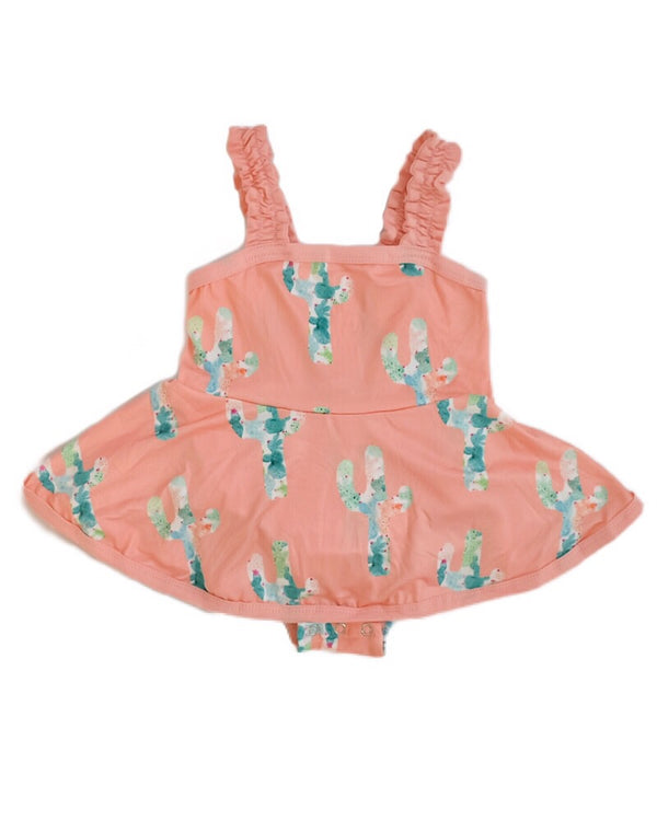 Peach Cactus Dress Romper