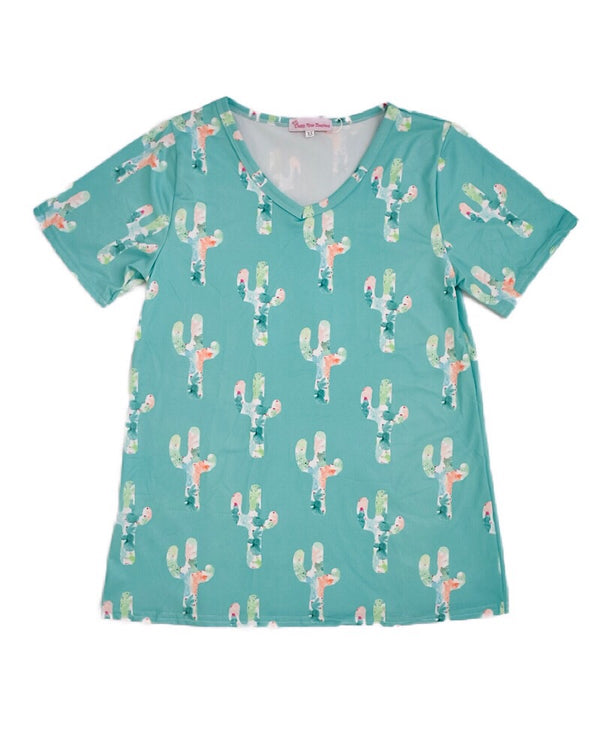 Teal Cactus Mommy T Shirt