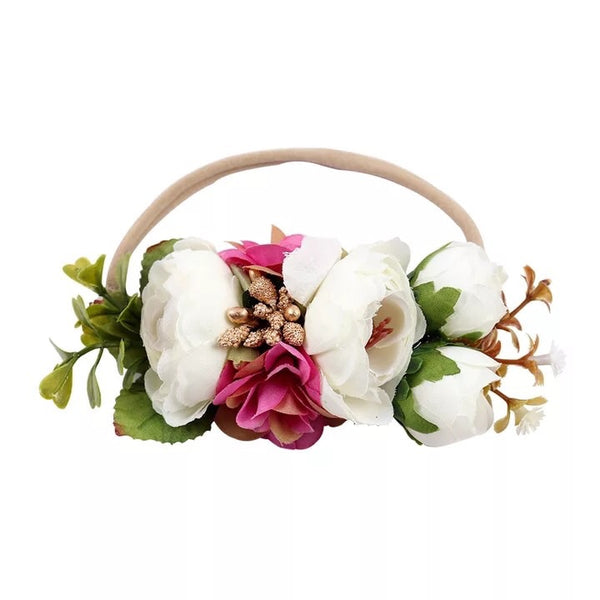 Floral Nylon Headband White