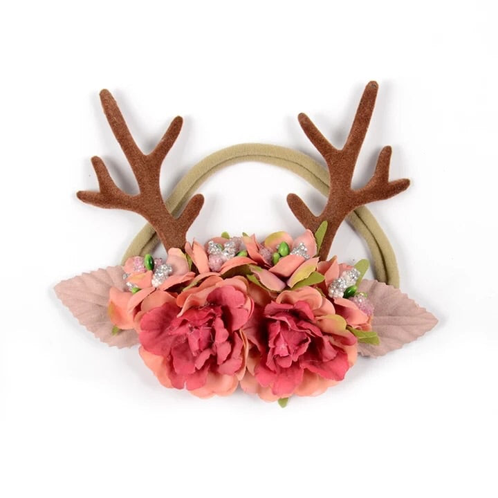 Deer Antler Floral Nylon Headband - Castle Rose Boutique