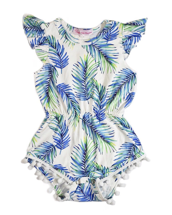 Palm Leaves Pom Pom Romper