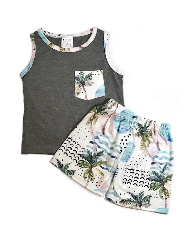 Summer Tank Top Set Gray