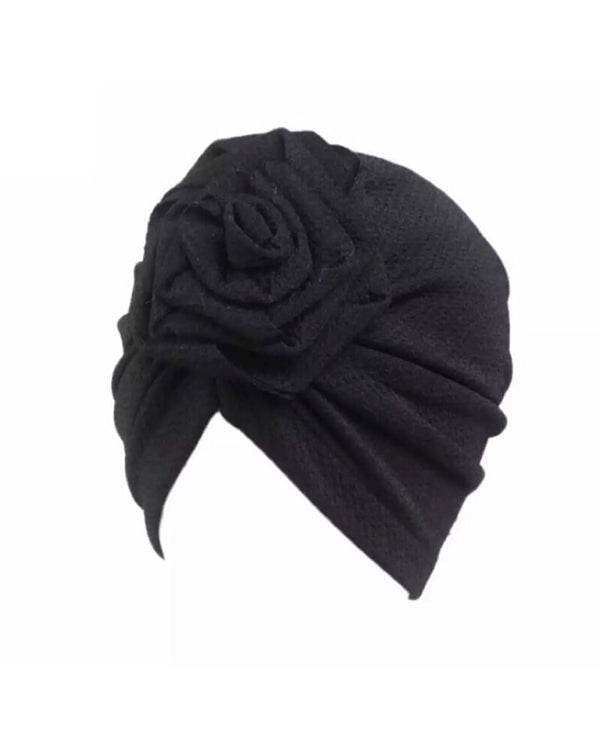 Black Rose Knot Turban