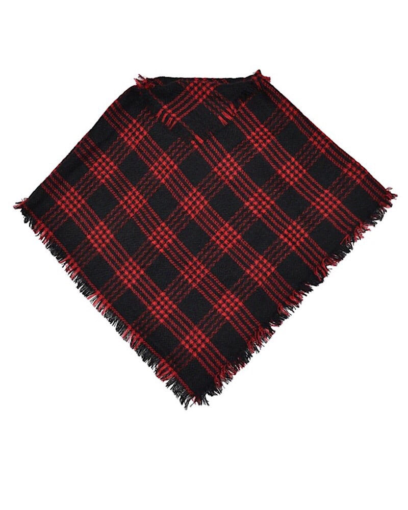 Plaid Poncho Red and Black