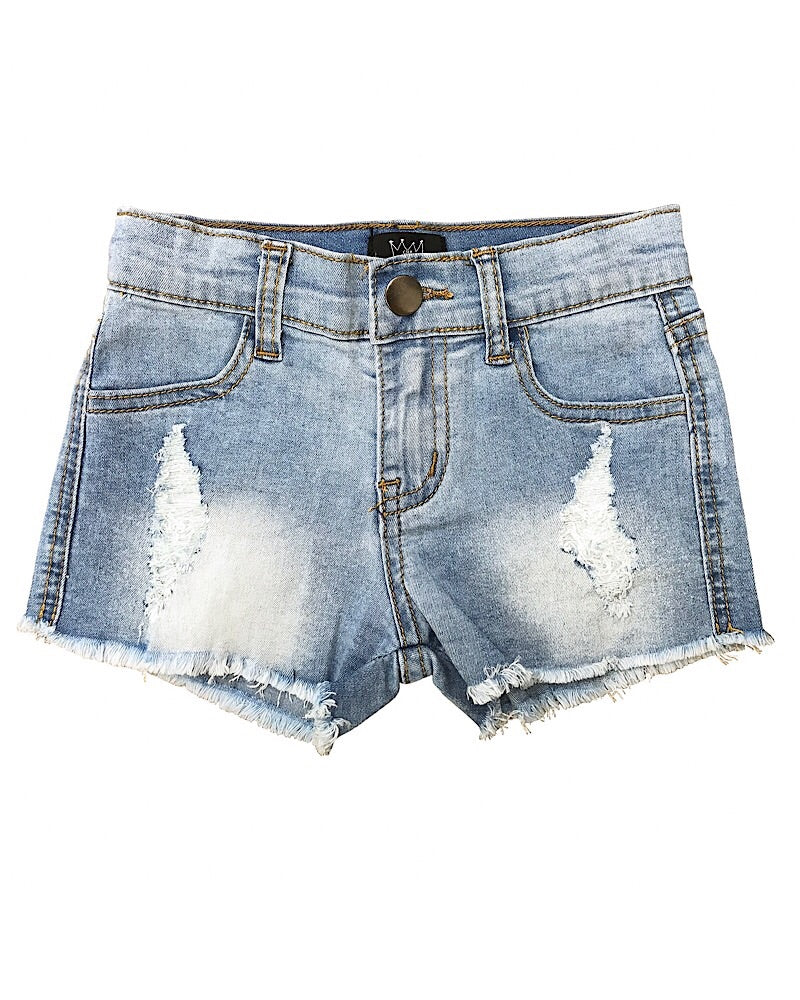 CRB Distressed Denim Shorts Light Blue Wash - Castle Rose Boutique