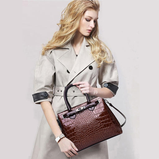 Luxury high quality crocodile pattern handbag