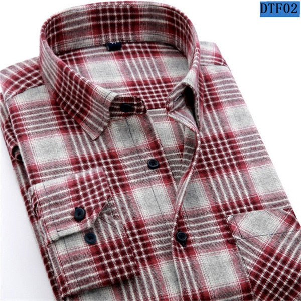 Flannel Plaid Shirt 100% Cotton Spring Autumn Casual Long Sleeve Shirt Size 3XL