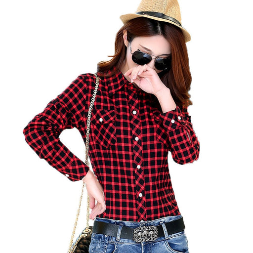 Ladies Female Casual Cotton Lapel Long-Sleeve Plaid Shirt M