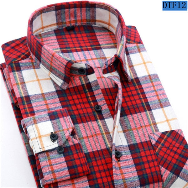 Flannel Plaid Shirt 100% Cotton Spring Autumn Casual Long Sleeve Shirt Size XL
