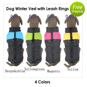 Dog Winter Vest with Leash Rings