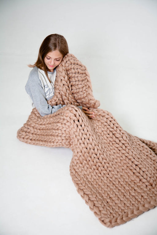 Large Soft Hand Chunky Knitted Plaids blanket