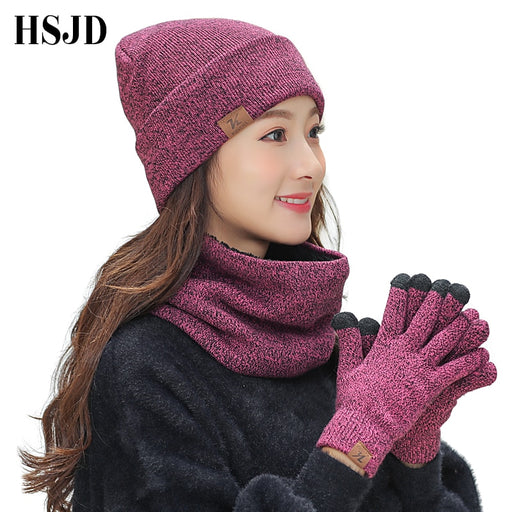 Winter Knitted Hats Scarf Gloves Set