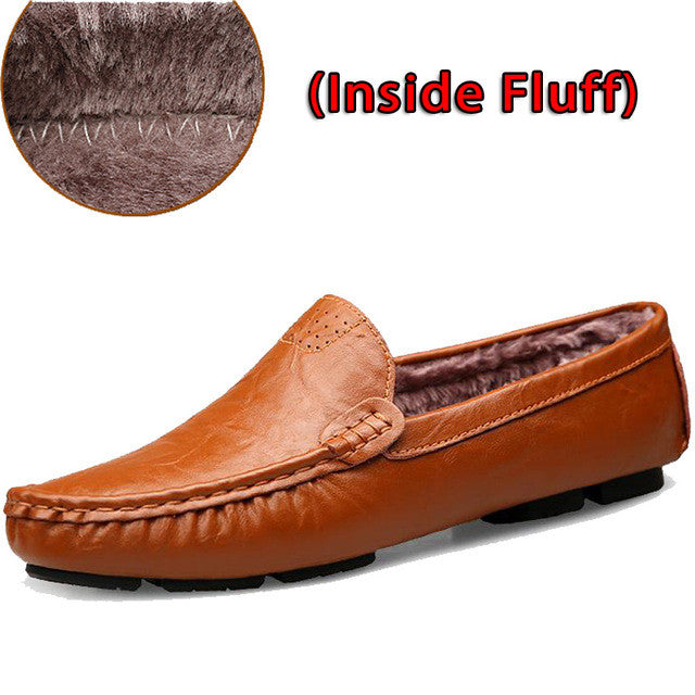 Leather & Fur Vintage Leather Soft Loafers for Men