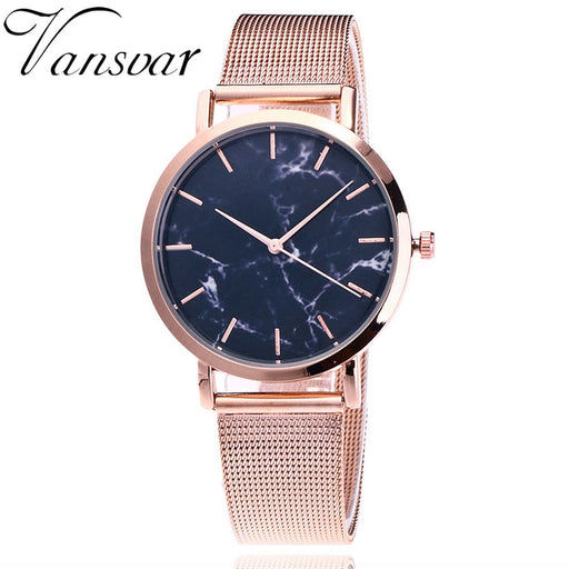 Vansvar Brand Fashion Silver And Gold Mesh Band Creative Marble Wrist Watch