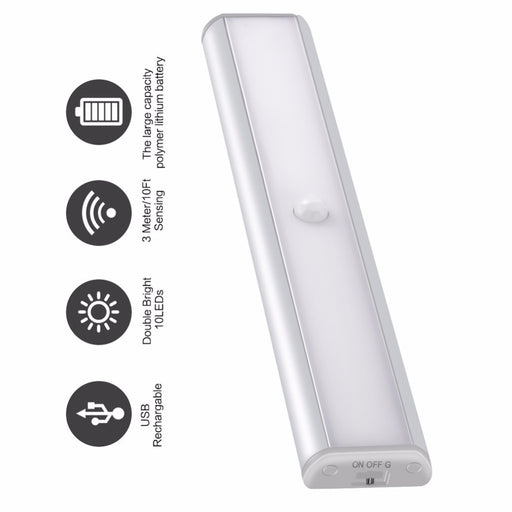 PIR Motion Sensor Led Night Light for Under Cabinet Closet Wardrobe Lighting USB Rechargeable