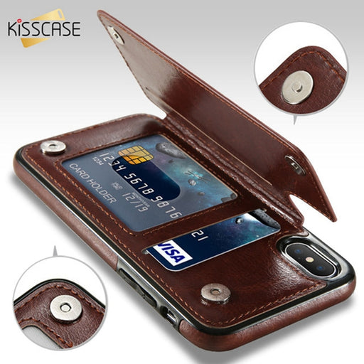 KISSCASE Leather Case For iPhone X 6 6s 7 8 Plus XS 5S SE Multi Card Holders