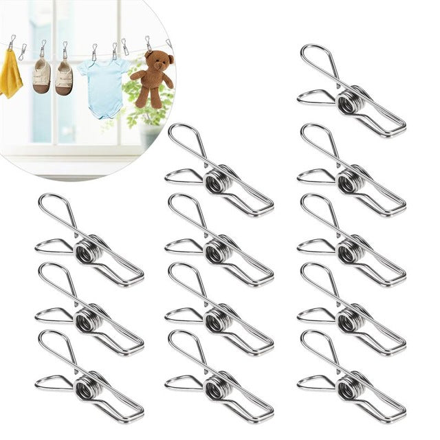 20pcs Multipurpose Stainless Steel Clips Clothes Pins