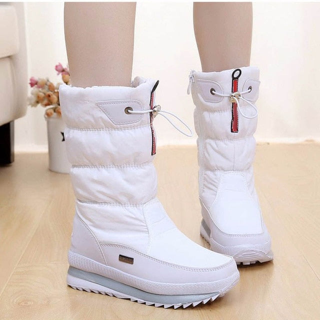 New 2019 women's boots platform winter shoes thick plush non-slip waterproof snow boots
