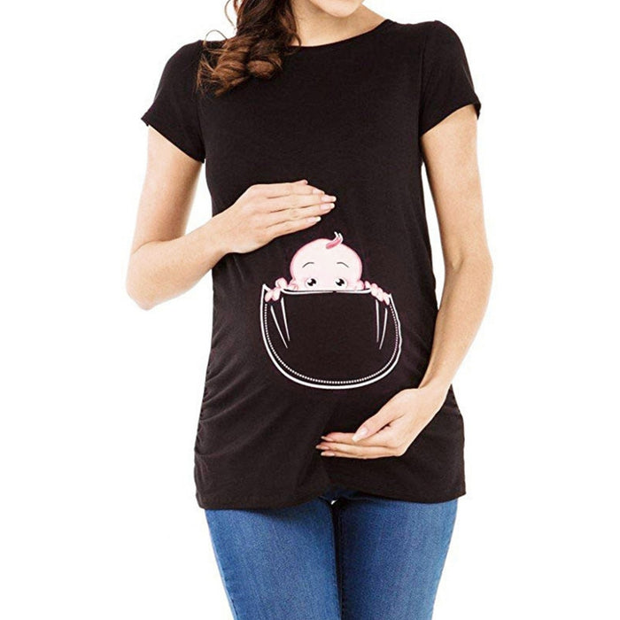 Women's Maternity Baby in Pocket Print T-Shirt Top Tee T-shirt