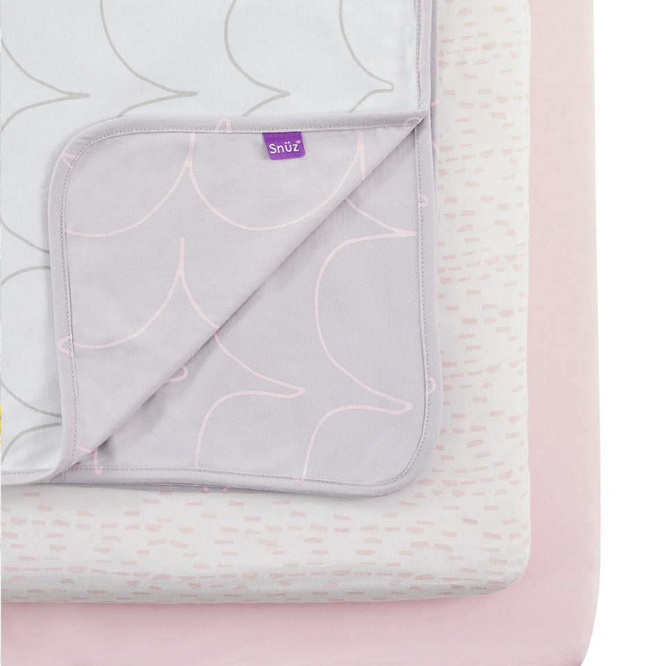 Snuz 3pc Crib Bedding Set – Wave Rose