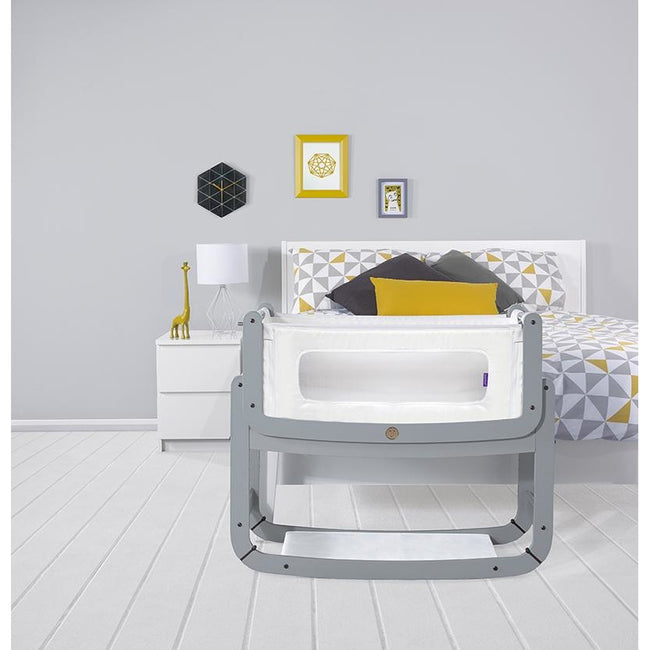 SnuzPod² Bedside Crib 3 in 1 Dove Grey with Mattress
