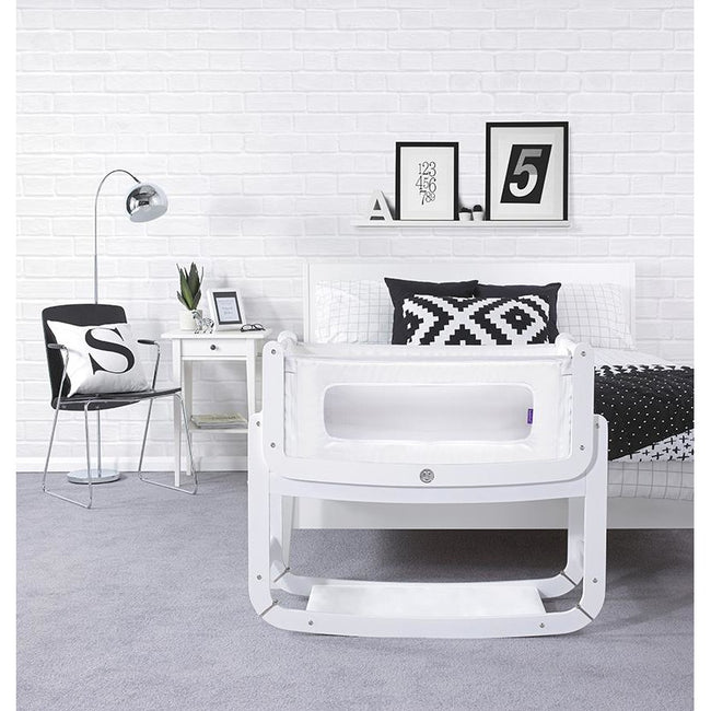 SnuzPod² Bedside Crib 3 in 1 White with Mattress