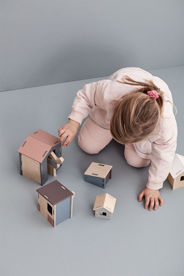 Kids Concept Small Wooden Animal Houses Set