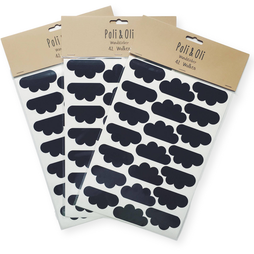 Poli & Oli Black Cloud Wall Stickers - Nursery Edit