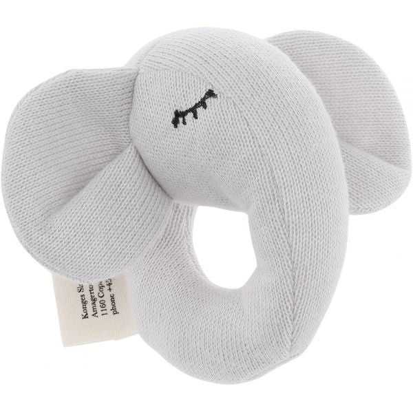 Konges Sløjd Quro Elephant Soft Toy Rattle - Grey