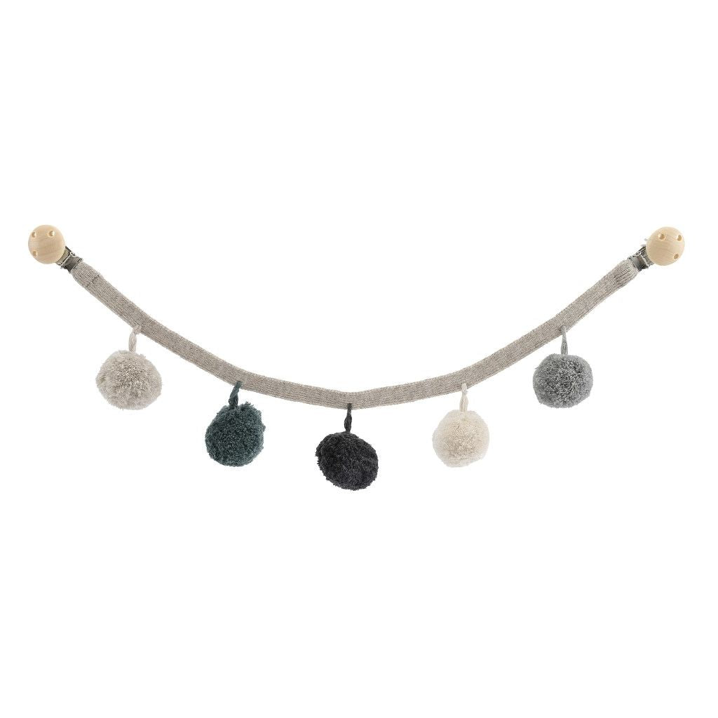Konges Slojd Pom Pom Pram Garland - Grey Green - Nursery Edit