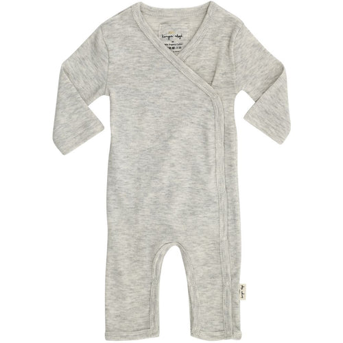 Konges Slojd Newborn Wrap Organic Onesie Sleepsuit - Light Grey Melange - Nursery Edit