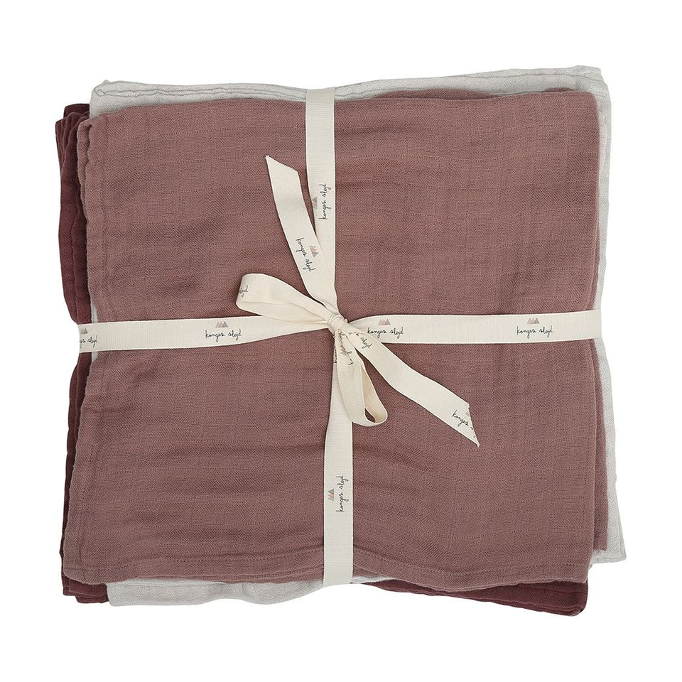 Konges Sløjd 10 Pack Organic Muslin Cloths - Rose Grey