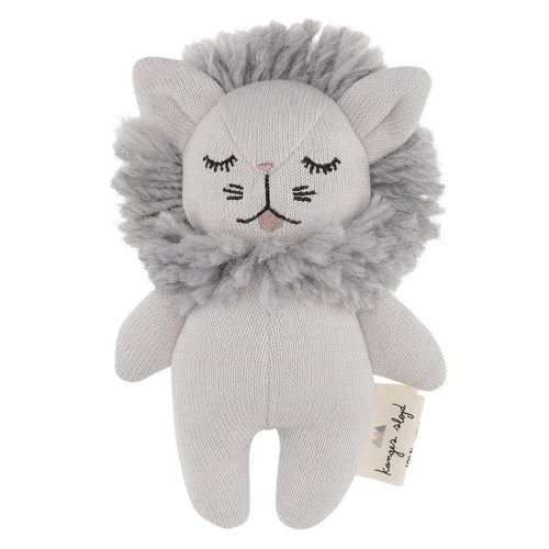 Konges Slojd Mini Lion Soft Toy - Grey - Nursery Edit