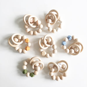 Bezisa Wooden Rattle Teether - White - Nursery Edit