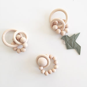 Bezisa Wooden Rattle Teether Mini 02 - Natural - Nursery Edit