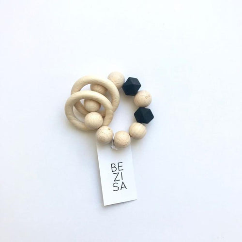 Bezisa Wooden Rattle Teether - Black - Nursery Edit
