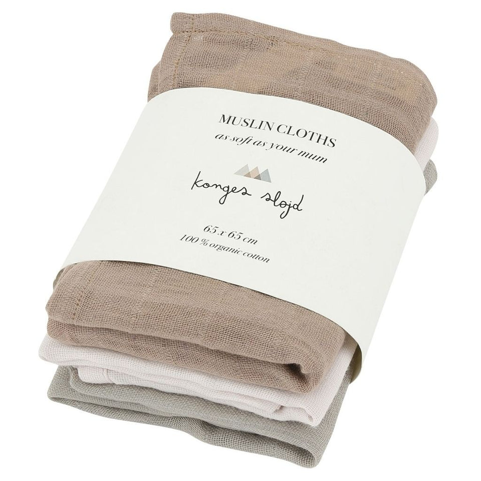 Konges Sløjd 3 Pack Organic Muslin Cloths - Rose Dust