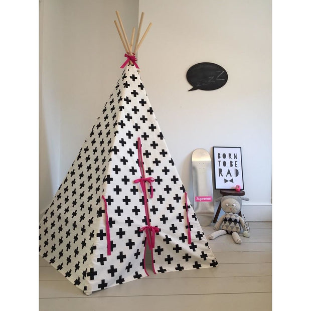 Wildfire Teepees Cross Teepee with Pink Trim - Nursery Edit