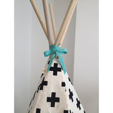 Load image into Gallery viewer, Wildfire Teepees Cross Teepee with Seafoam Trim - Nursery Edit