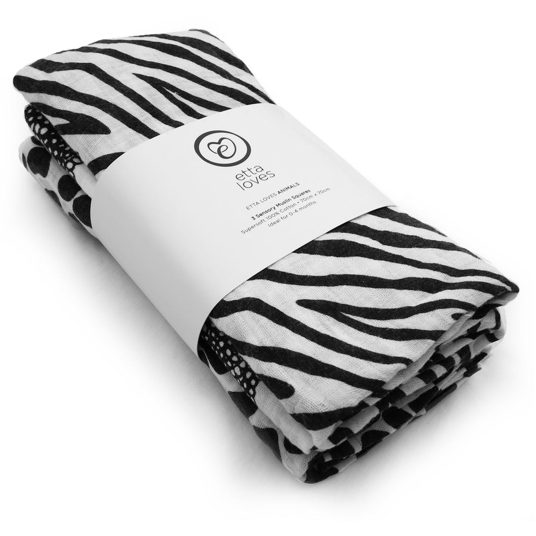 Etta Loves 3 Sensory Animal Print Muslin Squares - Ideal for 0-4 month old babies - Nursery Edit