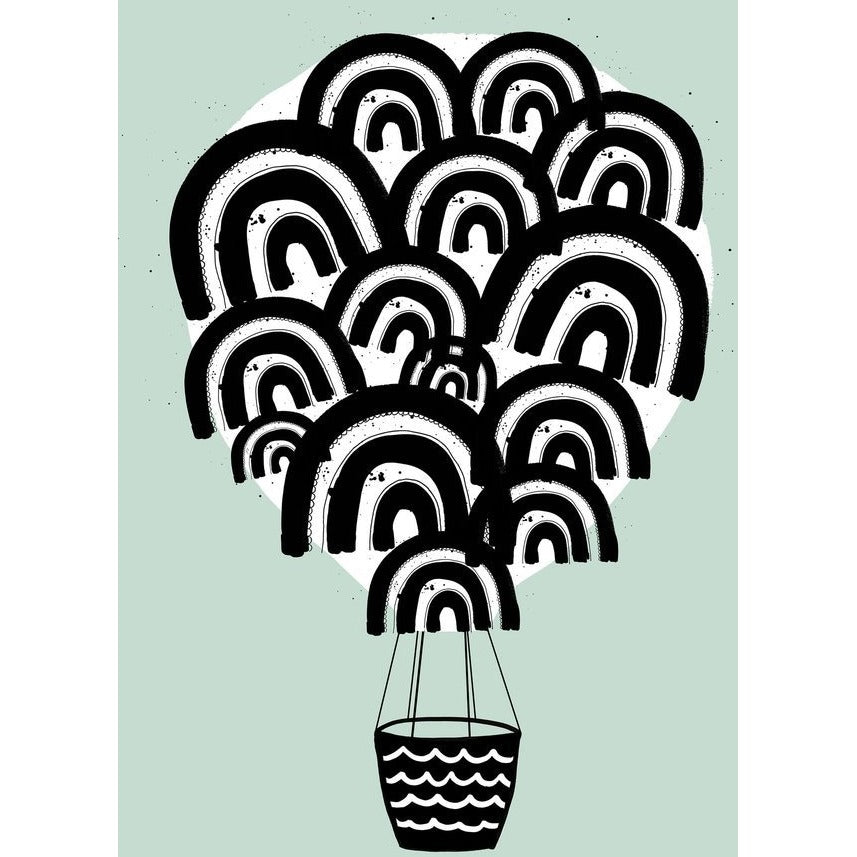 Wonder & Rah Mint Hot Air Balloon Print A3