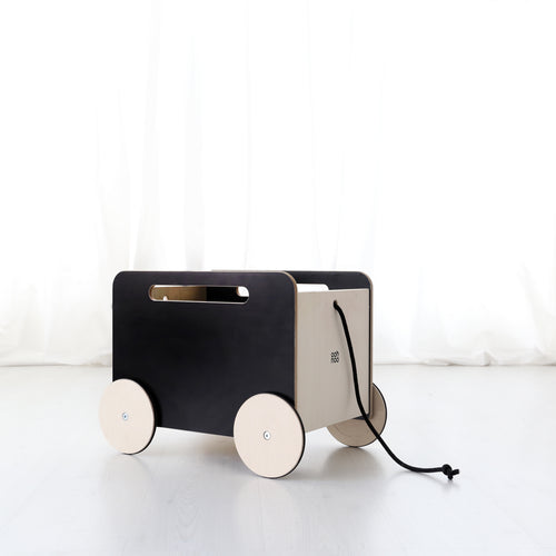 Ooh Noo Wooden Toy Storage Chest on Wheels - Blackboard